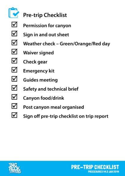 Pretrip checklist BRC